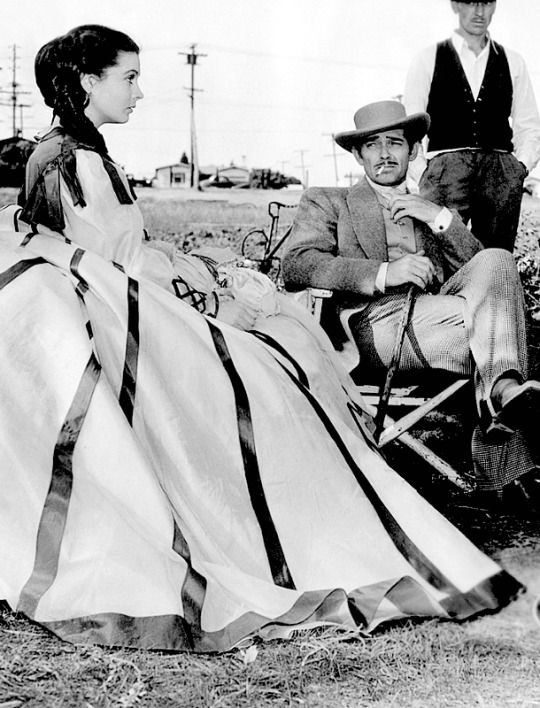 Leigh and Gable on the set of Gone with the Wind, 1939.