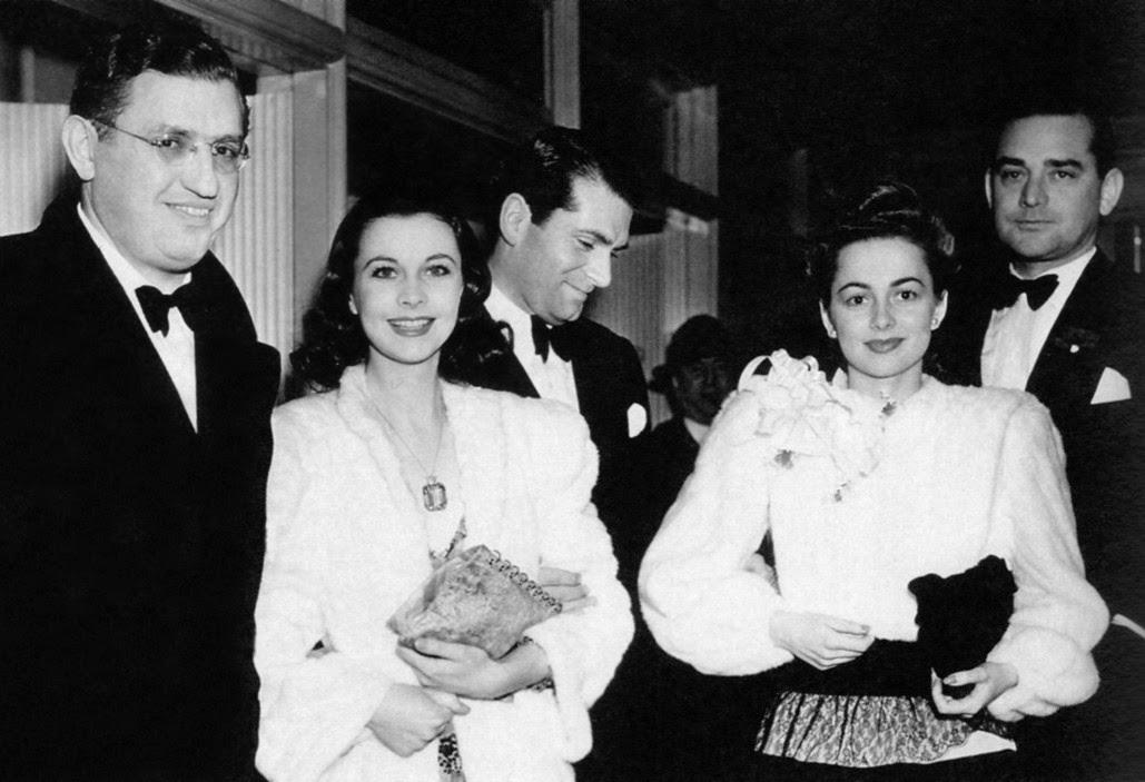 David O. Selznick, Vivien Leigh, Laurence Olivier, Olivia de Havilland and Jock Whitney arriving at the 1940 Academy Awards.