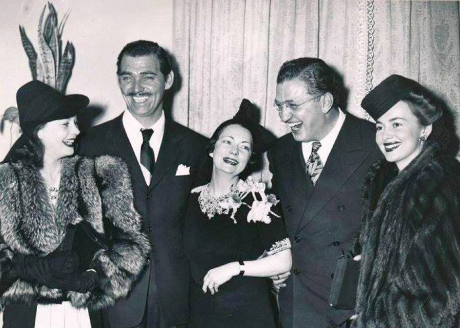 Vivien Leigh, Clark Gable, Margaret Mitchell, David O. Selznick and Olivia De Havilland at the 1939 premiere of Gone with the Wind.