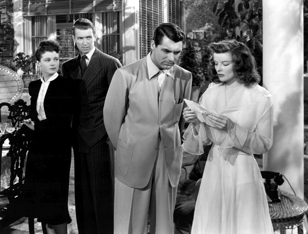 Ruth Hussey, James Stewart, Cary Grant and Katharine Hepburn in a scene from The Philadelphia Story.
