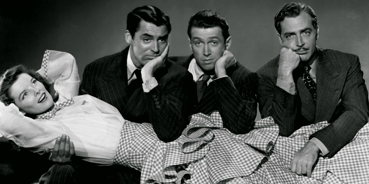 Katharine Hepburn, Cary Grant, James Stewart and John Howard in a publicity still for The Philadelphia Story.