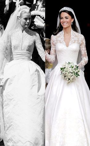 The Duchess of Cambridge's wedding dress  in 2011 was said to be inspired by The Princess of Monaco's dress in 1956.