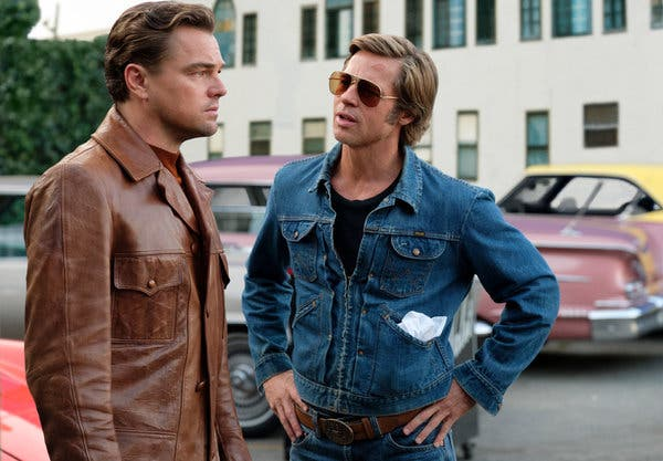 Leonardo DiCaprio and Brad Pitt in a scene from the film.